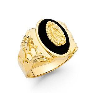 14K Yellow Gold Onyx Men's Ring